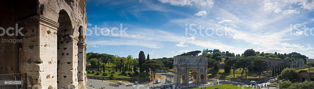Coliseum and Palatine Hill, Rome stock photo