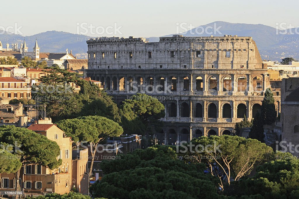 Coliseum at dusk, Rome Italy royalty-free stock photo