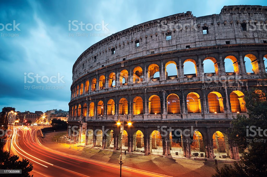 Coliseum at night in Rome Italy stock photo