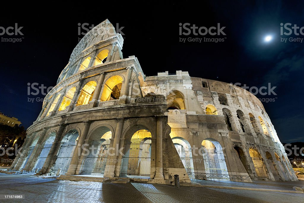 Coliseum at night royalty-free stock photo
