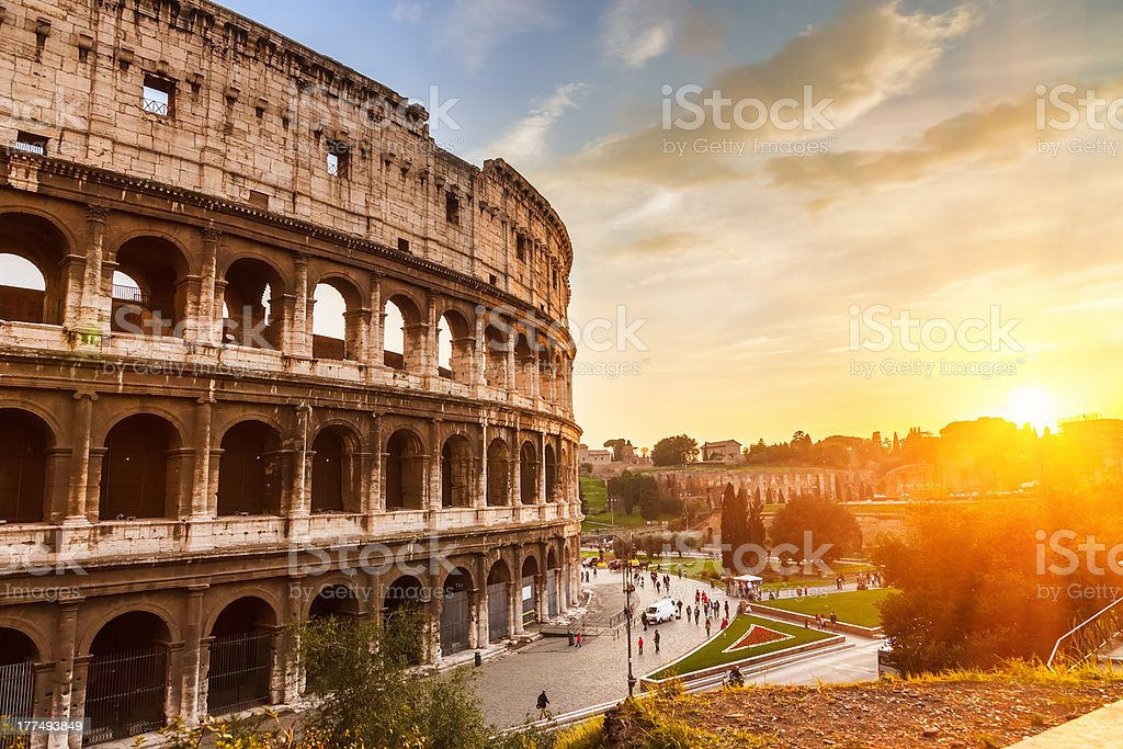 Coliseum at sunset stock photo