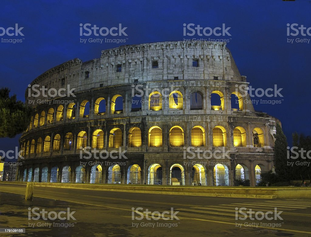 Coliseum by night in Rome royalty-free stock photo