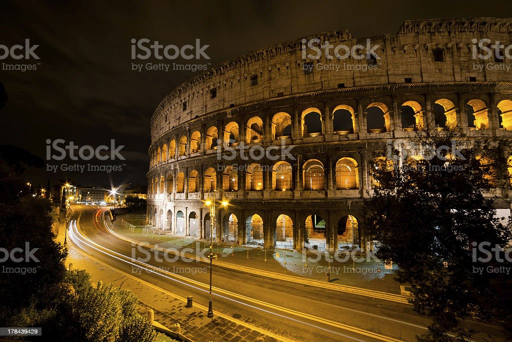 Coliseum by night, Rome Italy royalty-free stock photo