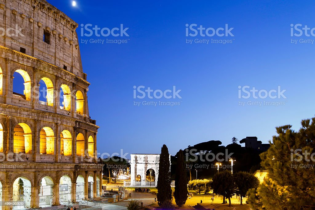 Coliseum by night, Rome Italy stock photo