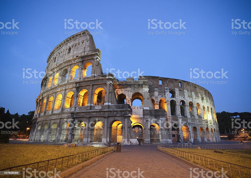 Coliseum by night-dusk, Rome Italy royalty-free stock photo
