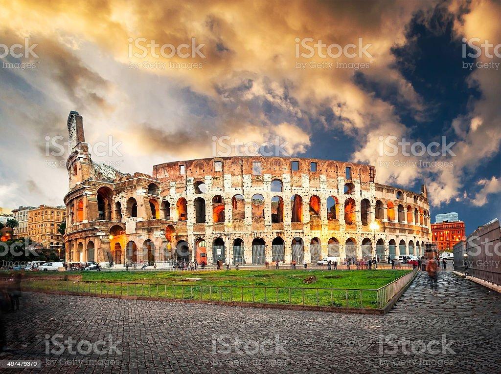 Coliseum evening stock photo