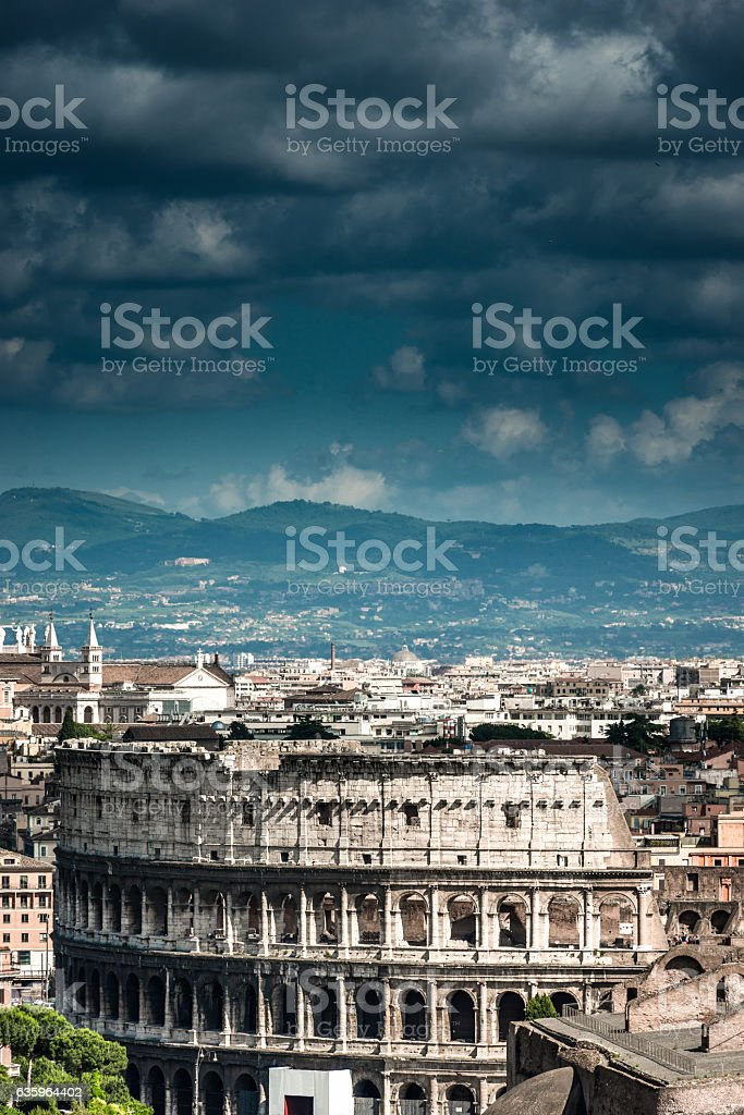 Coliseum in Rome aerial view stock photo