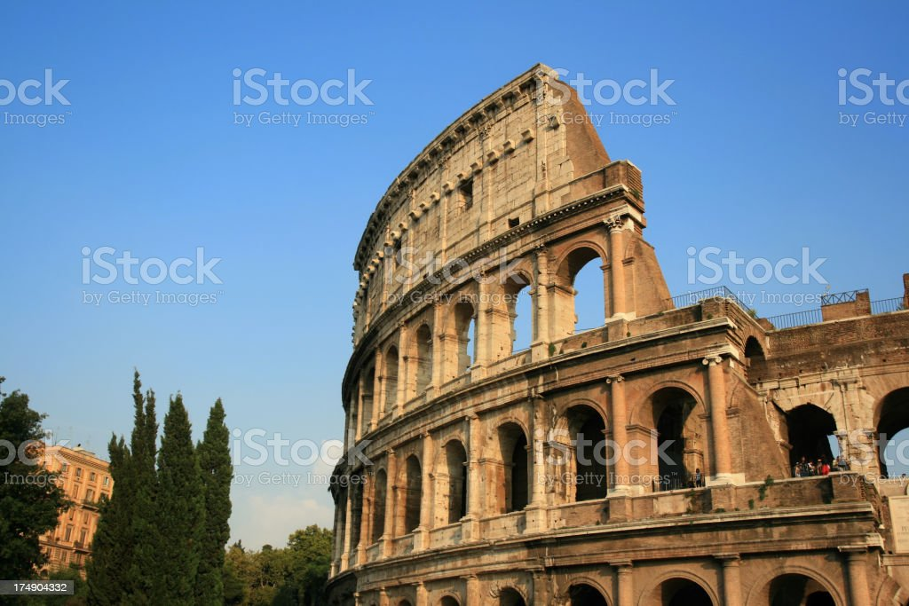 Coliseum in the evening sun, Rome Italy royalty-free stock photo