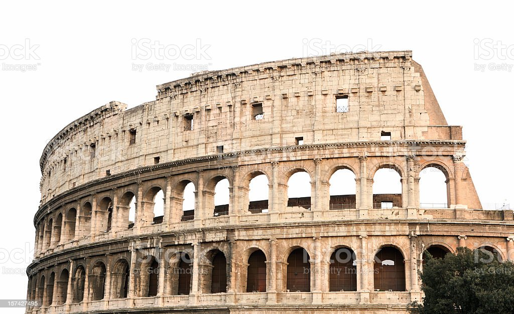 Coliseum isolated on white, Rome Italy stock photo