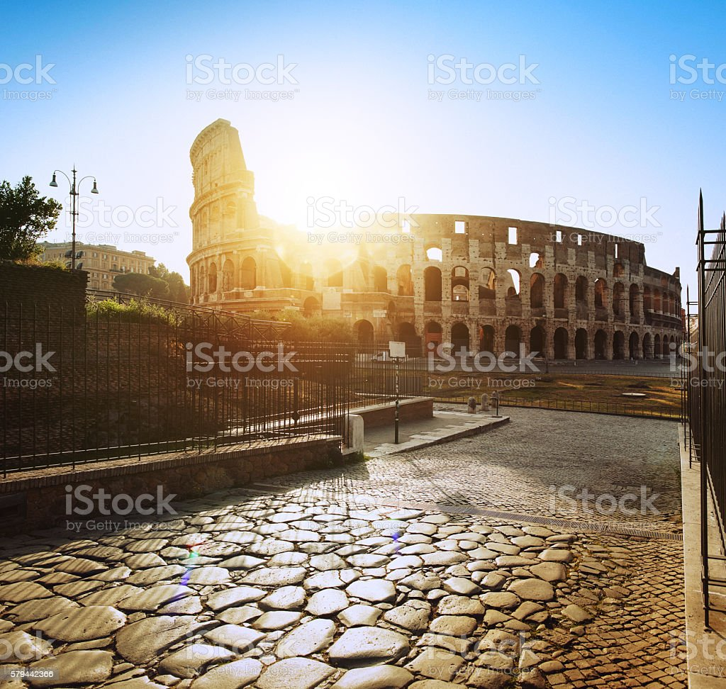 Coliseum of Rome, just restored, from Via Sacra at dawn stock photo