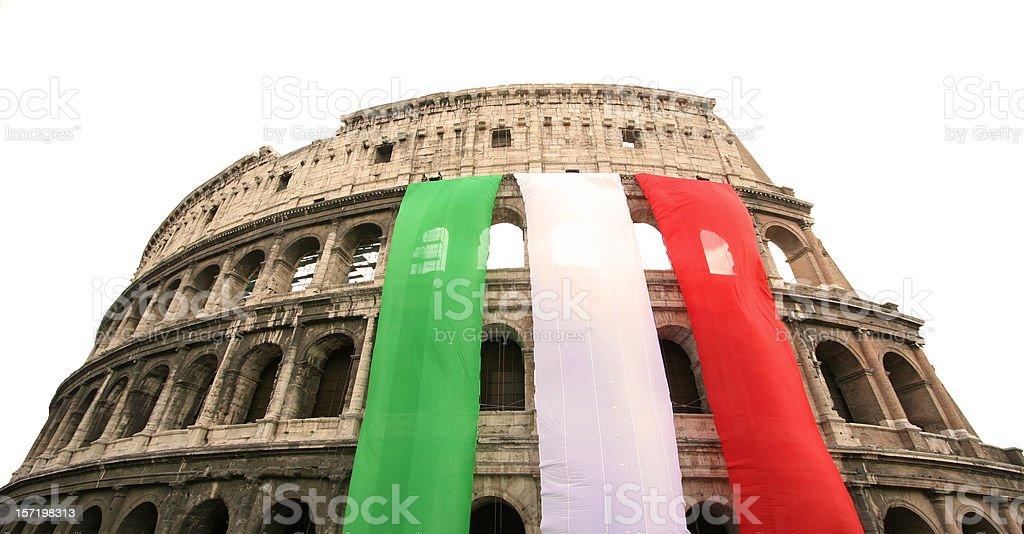 Coliseum with the Italian flag, Rome Italy royalty-free stock photo
