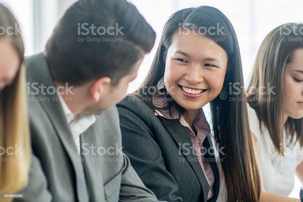 Collaborating in the Boardroom stock photo