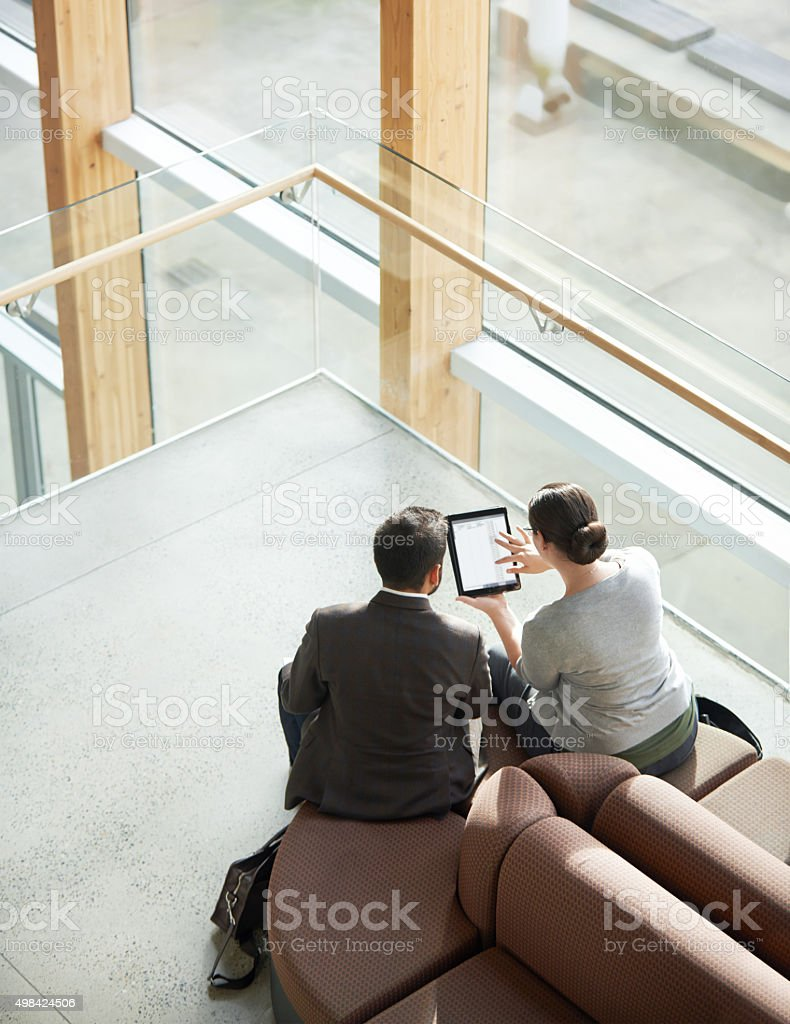 Collaborating on a project stock photo