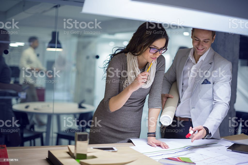 Collaborating on the project stock photo