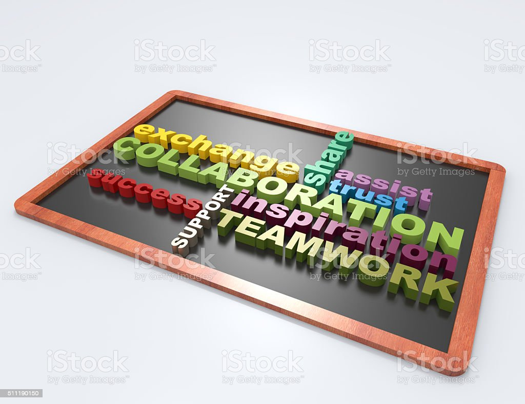 Collaboration 3d word concept stock photo