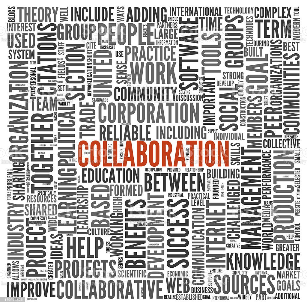 Collaboration concept in word tag cloud royalty-free stock photo