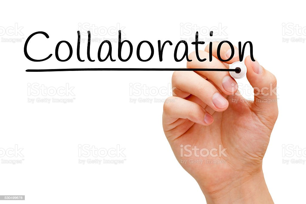 Collaboration Hand Black Marker stock photo