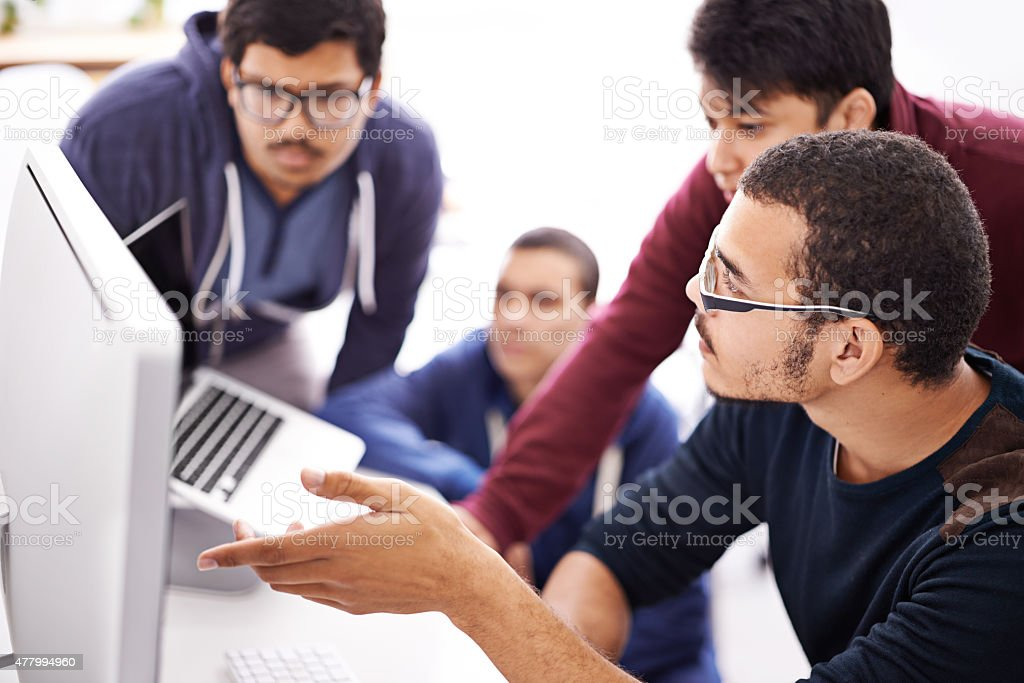 Collaborative coding stock photo