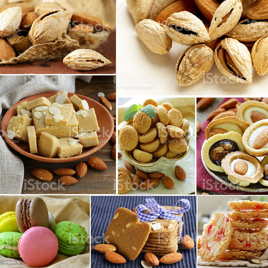 collage almond and nut products - marzipan, macaroon, cookies stock photo