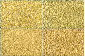 Collage consisting of bulgur, millet, cous cous, polenta grains.
