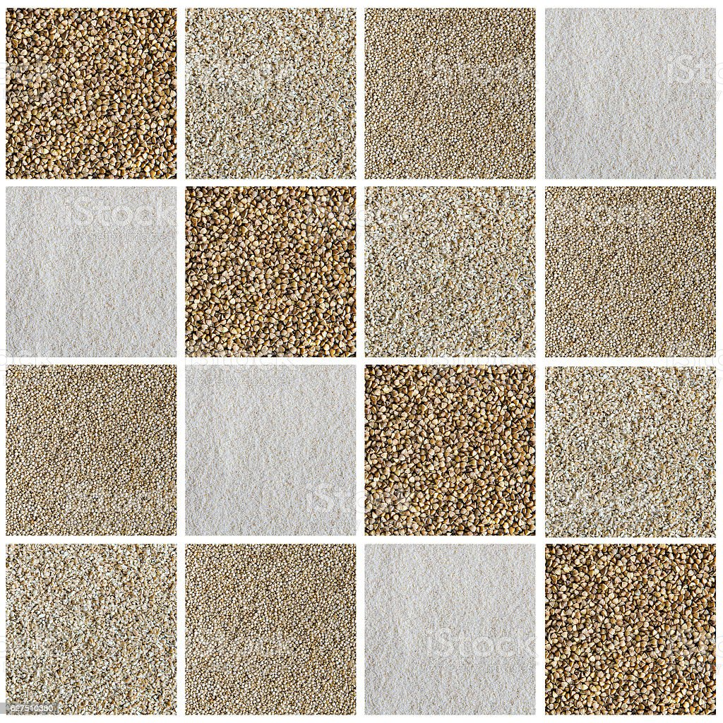 Collage consisting of different type of cereals and seeds. stock photo