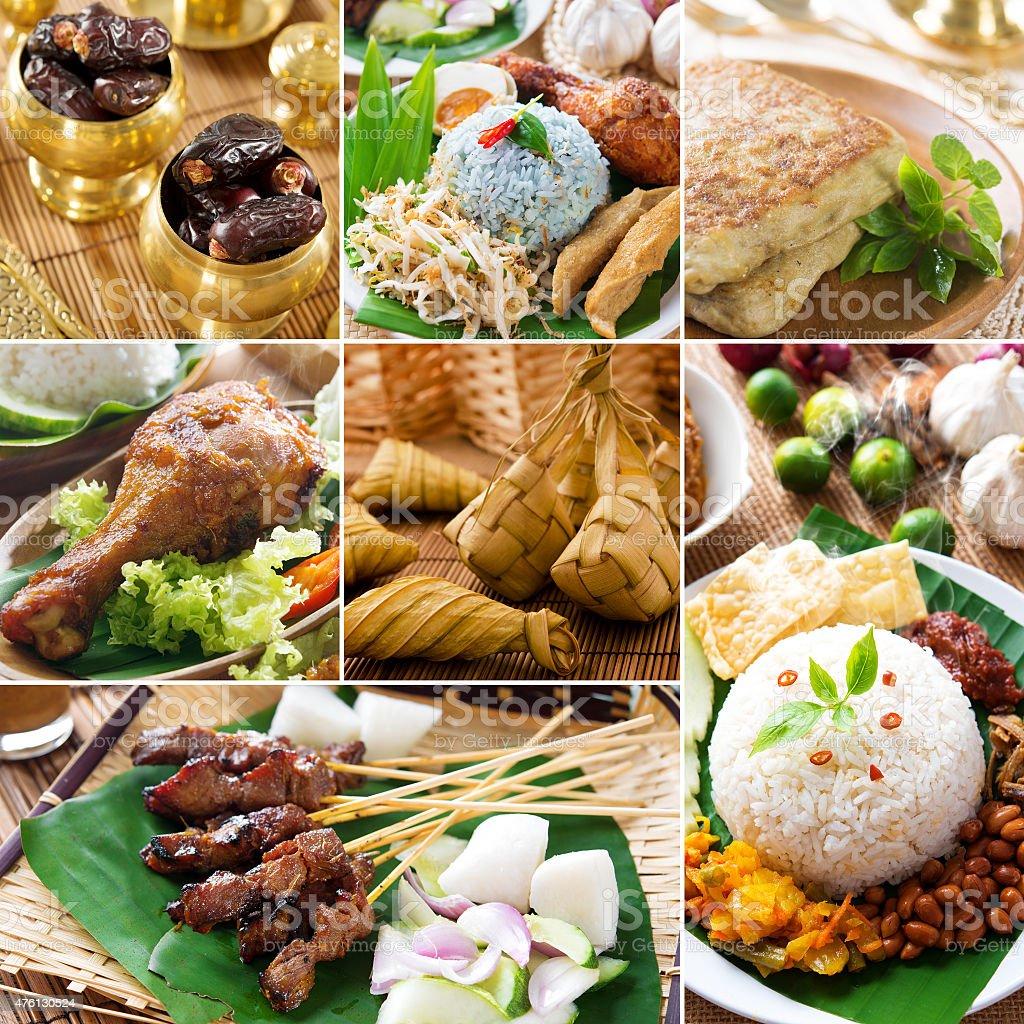 Collage delicious ramadan food stock photo