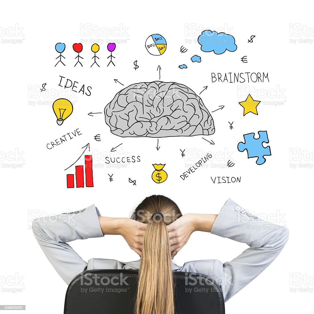 Collage expressing idea of business success through creative thinking stock photo