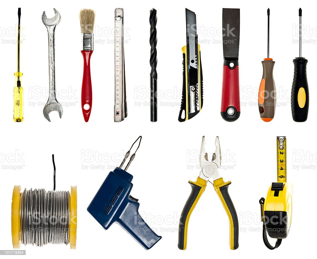Collage fo hand tools royalty-free stock photo