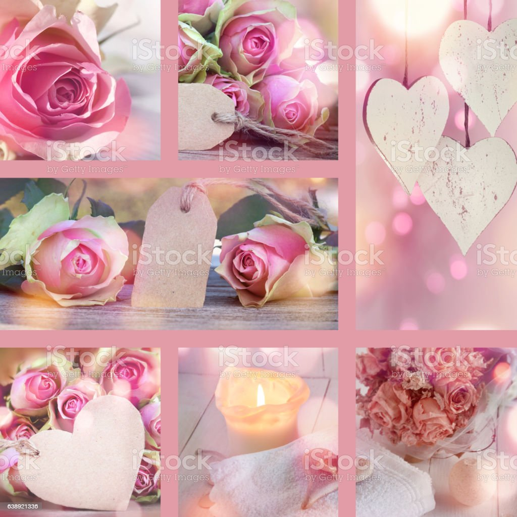 Collage for Valentines Day and Mothers Day stock photo