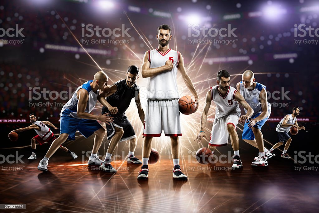 collage from basketball players in action on grand arena stock photo