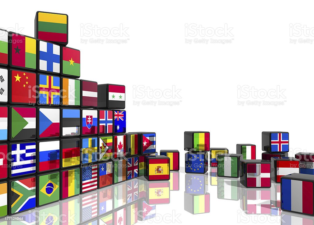 Collage from cubes with flags stock photo