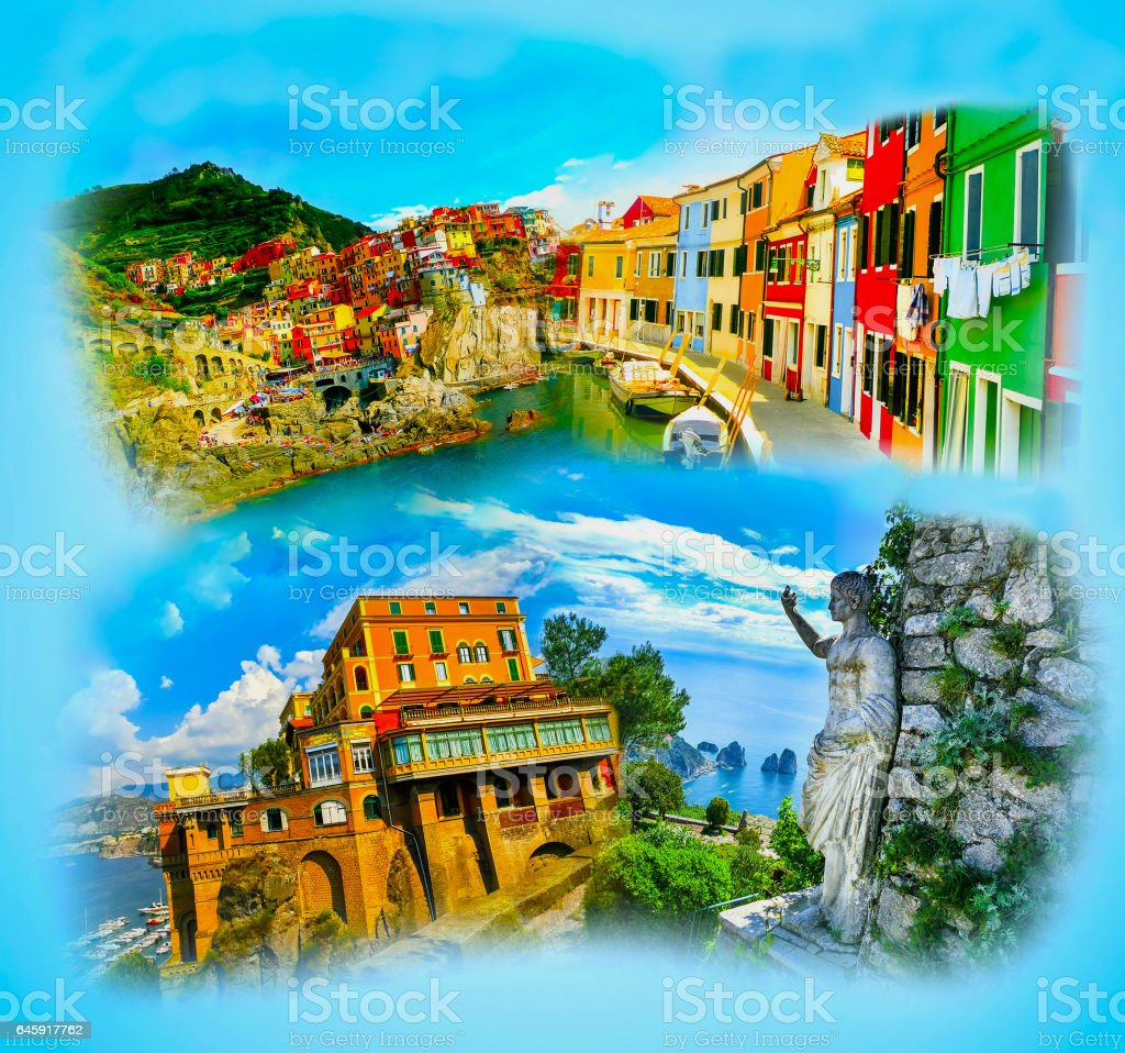 Collage from photos of Italy on blue background stock photo