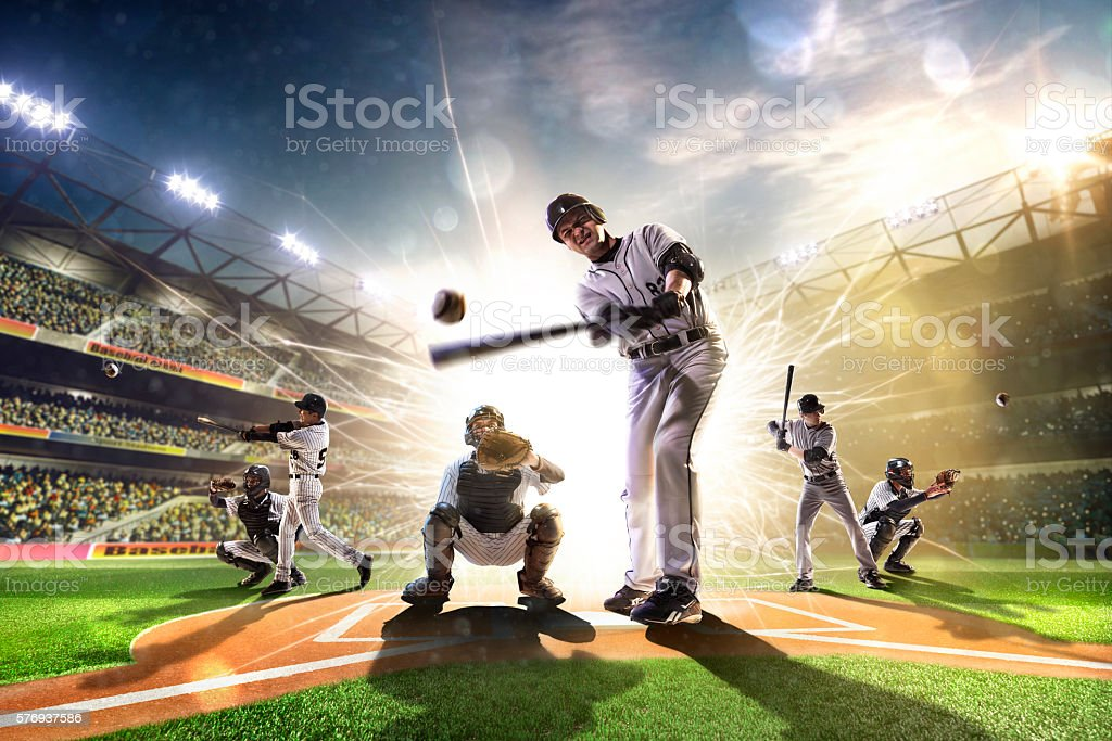 Collage from professional baseball players on the grand arena stock photo
