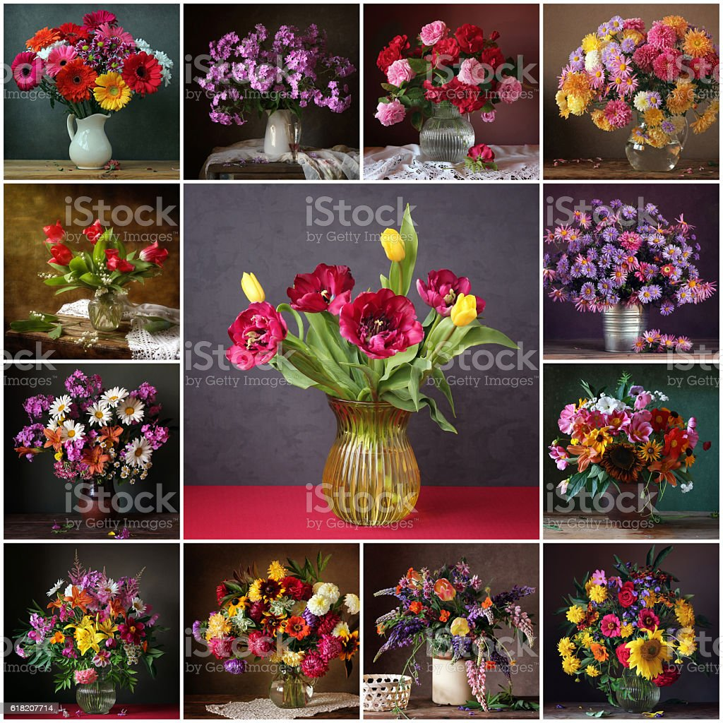 Collage from still lifes with bouquets. Flower background. stock photo