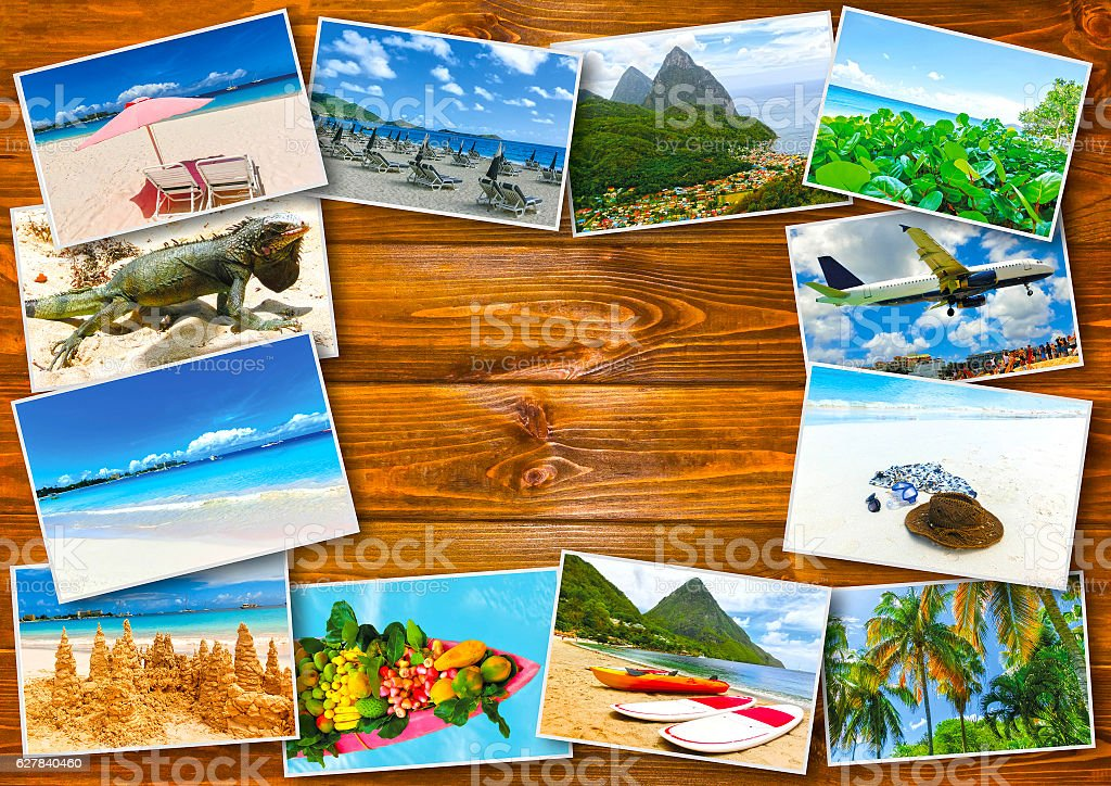 Collage from views of the Caribbean beaches stock photo