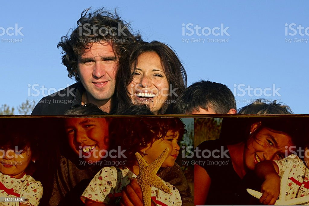 A collage in different tinting of a happy family stock photo