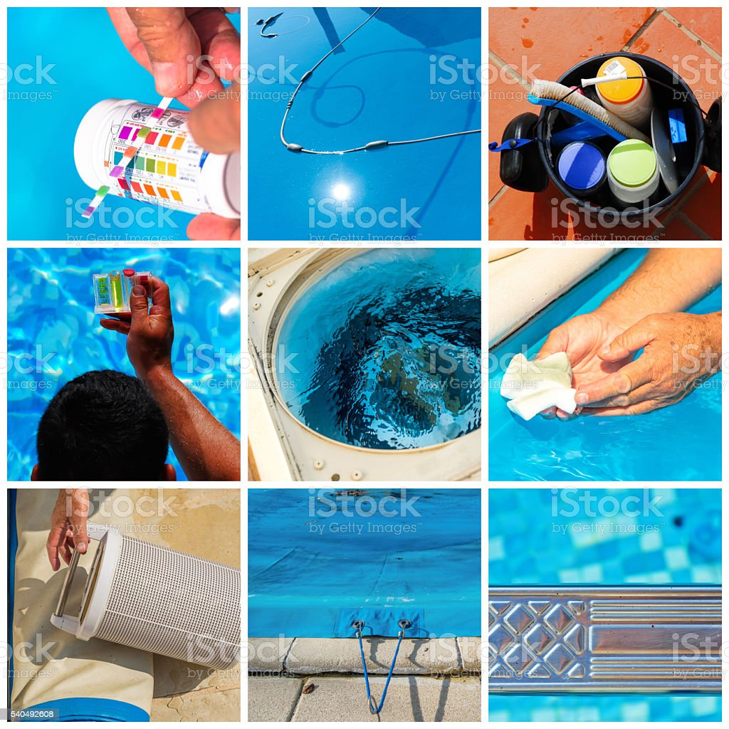 Collage maintenance of a private pool stock photo
