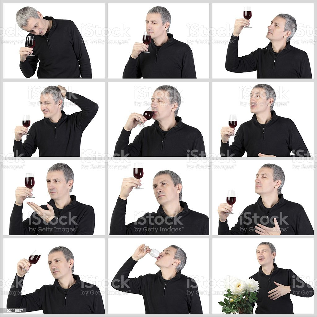 Collage Man tasting a glass of red port wine stock photo