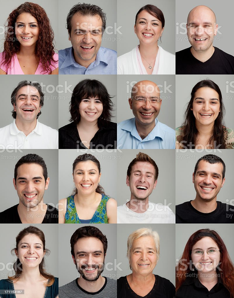 Collage of 16 different men and women smiling stock photo