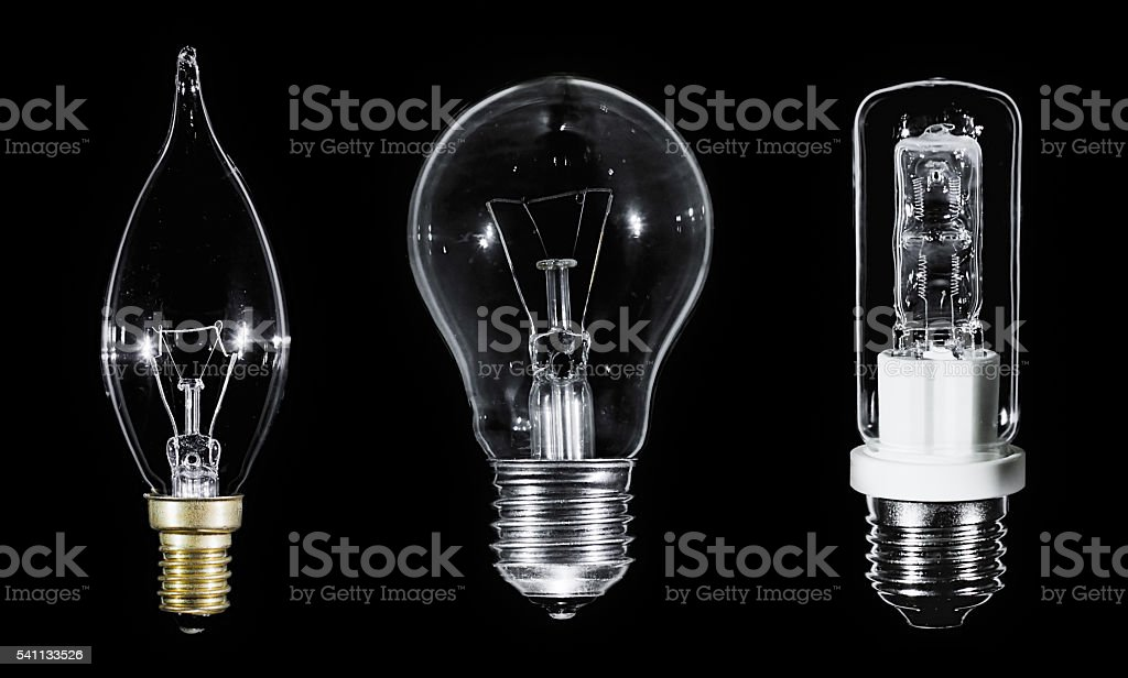 Collage of 3 Edison lamps over black stock photo