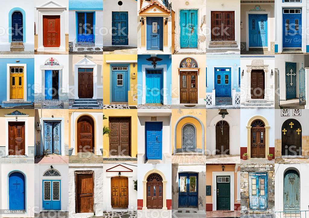 Collage of 36 colourful front doors from Karpathos. stock photo