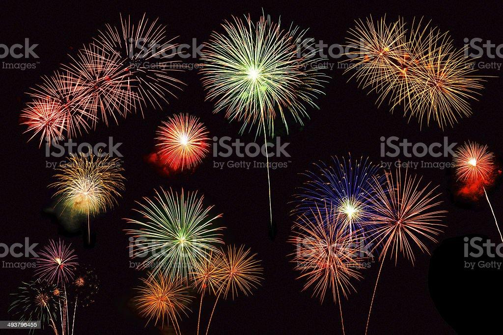 Collage von verschiedene bunte Feuerwerk Lizenzfreies stock-foto