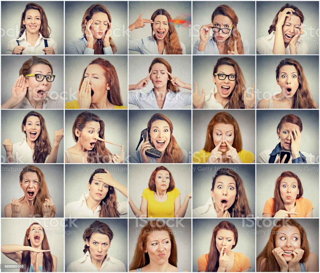 Collage of a young woman expressing different emotions