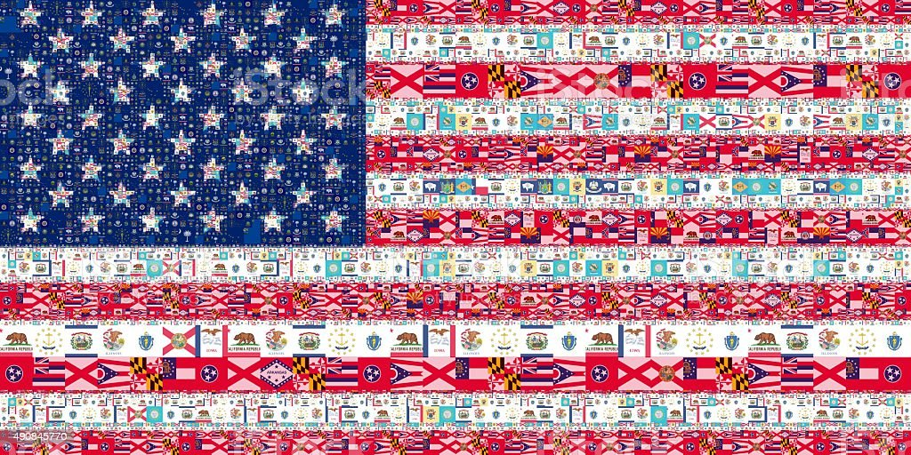 Collage of America flag from the flags of all States stock photo