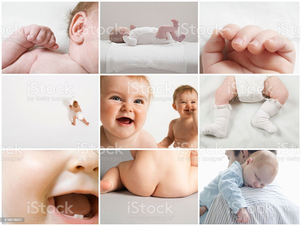 Collage of baby girls and boys stock photo