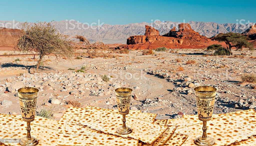 Collage of Biblical motif for Jewish Passover celebration stock photo