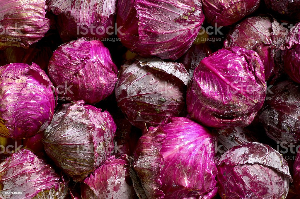 Collage of bright purple wet cabbage stock photo
