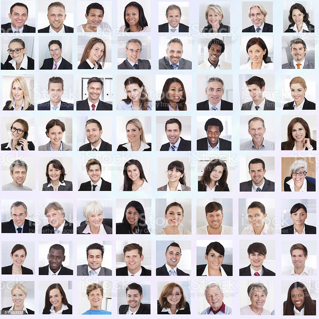 Collage Of Business People Smiling stock photo