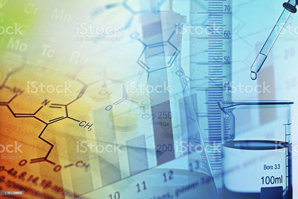 Collage of chemistry formulas, experiments and charts stock photo