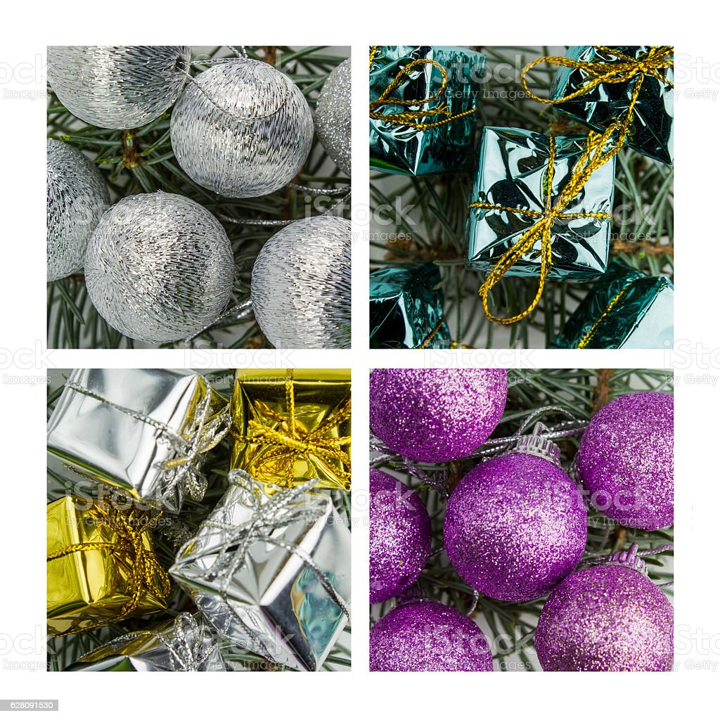 Collage of Christmas decoration stock photo